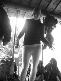 "Me in my ""new"" Elita long underwear, a thousand years and a lifetime ago, in an Appalachian Trail hut back during college, in 2006. This may be the coolest I've ever looked in an outdoors photo (because it's fuzzy)."