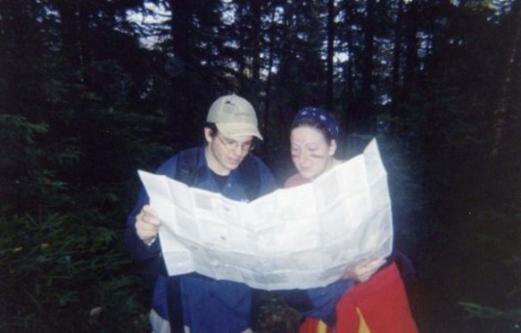 Mt Marcy, in the Adirondacks, 2002. The beginning of a long and illustrious friendship. (And yep - that's mud on my cheeks)