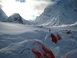 Waitng for the weather to clear at Base Camp.