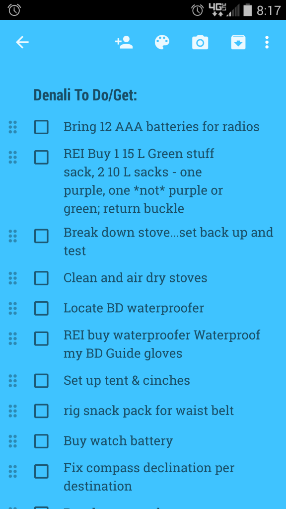 Just part of the checklist on my phone around that time...