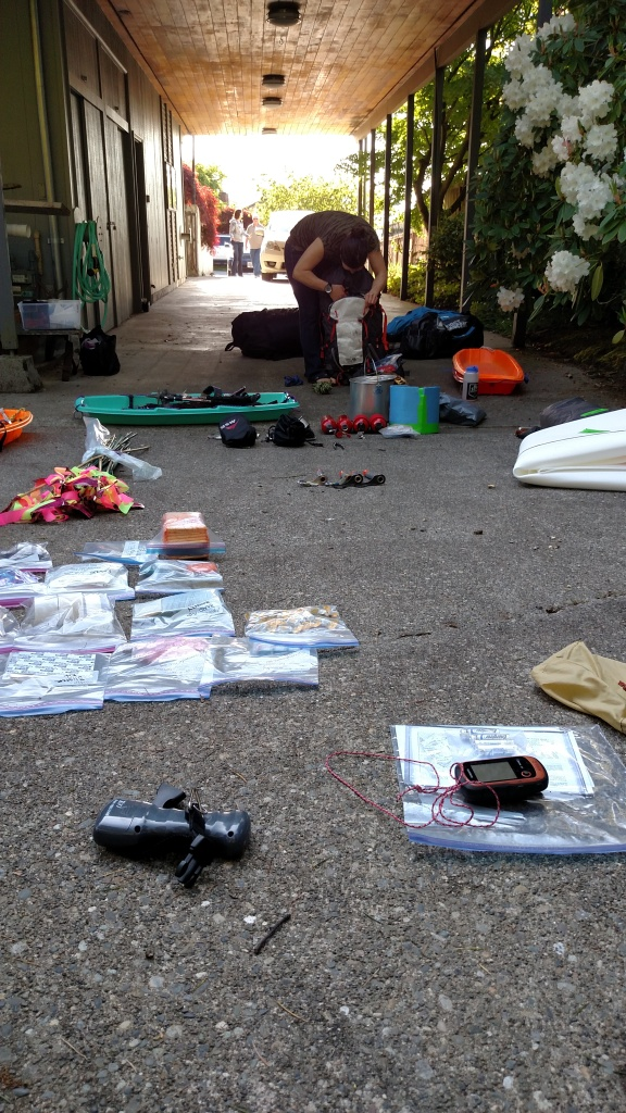The long driveway of my former residence, covered in gear at the end of the day